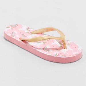 Girls' Pink/Gold Unicorn Flip Flops Sz L (4/5) NWT